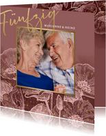 Einladung zur goldenen Hochzeit Blumen in rosé