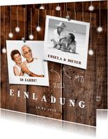 Einladung zur goldenen Hochzeit Holz mit Fotos