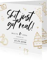 Einladung zur Hochzeit Doodles 'Shit just gor real'