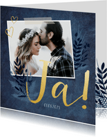 Einladung zur Hochzeit dunkelblau mit Foto und Pflanzen