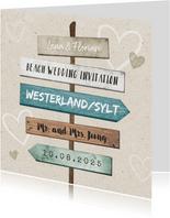 Einladung zur Hochzeit Wegweiser Sommerfeeling