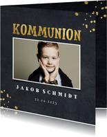 Einladung zur Kommunion Foto, Kreidetafel & Goldoptik
