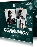 Einladung zur Kommunion Fotocollage & Farbpritzer