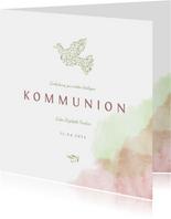 Einladung zur Kommunion mit Taube & Wasserfarbe