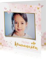 Einladung zur Kommunion rosa Aquarell mit Foto & Herzen