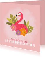 Einladung zur Kommunion rosa Flamingo