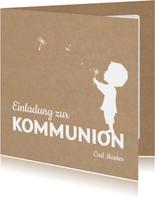 Einladung zur Kommunion Scherenschnitt Junge Kraftpapier