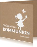 Einladung zur Kommunion Scherenschnitt Mädchen Kraftpapier