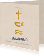Einladung zur Kommunion Symbole in Gold