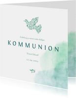 Einladung zur Kommunion Taube botanisch Wasserfarbe