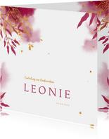 Einladung zur Konfirmation botanisch pink Foto innen