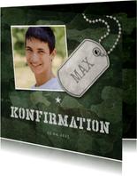 Einladung zur Konfirmation Foto Military grün