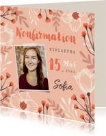 Einladung zur Konfirmation Foto und Frühlingsblumen