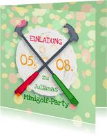 Einladung zur Minigolf-Party - Schläger und Ball