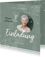 Einladung zur Pensionsfeier Konfetti und Foto