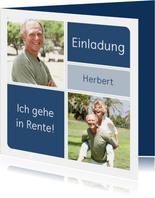 Einladung zur Rentnerfeier mit zwei Fotos