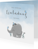 Einladung zur Taufe Elefant & Vögel blau