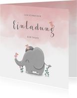 Einladung zur Taufe Elefant & Vögel rosa