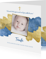 Einladung zur Taufe Foto metallic blau