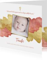 Einladung zur Taufe Foto metallic rosé