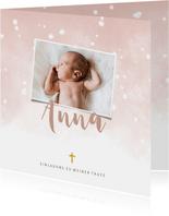 Einladung zur Taufe hellrosa Foto und Schneeflocken