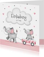 Einladung zur Taufe kleine Schwester Elefanten und Herzen