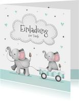 Einladung zur Taufe kleiner Bruder Elefanten und Herzen