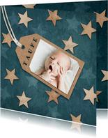 Einladung zur Taufe Sterne im Holzlook und Foto