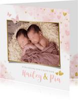 Einladung zur Taufe Zwilling Foto & rosa Herzen Aquarell