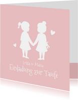 Einladung zur Taufe Zwilling Mädchen Silhouette