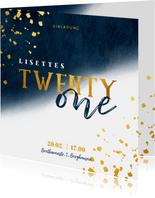 Einladungskarte 21. Geburtstag blau und 'twenty one'