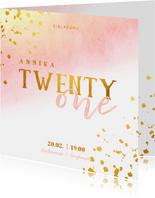 Einladungskarte 21. Geburtstag mit Goldeffekten