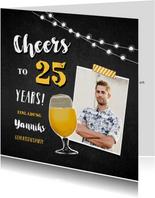 Einladungskarte 25. Geburtstag Foto und Bierglas