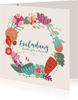 Einladungskarte Blumenkranz zur Rente