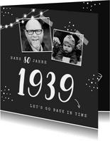 Einladungskarte Geburtstag schwarz-weiß mit Fotos