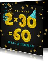 Einladungskarte Geburtstagsparty 2x30=60