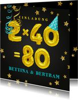 Einladungskarte Geburtstagsparty 2x40=80