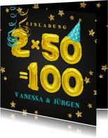 Einladungskarte Geburtstagsparty 2x50=100