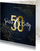 Einladungskarte Goldene Hochzeit 50 Gold