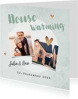 Einladungskarte Housewarming mit Fotos und Herzen