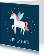 Einladungskarte Kindergeburtstag Einhorn, Herzen und Sterne