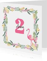 Einladungskarte Kindergeburtstag Flamingo und Zweige