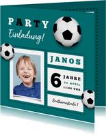 Einladungskarte Kindergeburtstag Fußball und Foto