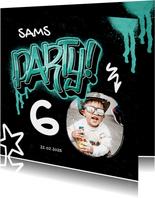 Einladungskarte Kindergeburtstag Graffiti Party mit Foto