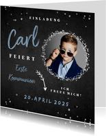 Einladungskarte Kommunion Foto auf Kreidetafel