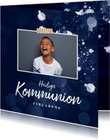 Einladungskarte Kommunion Foto und Farbspritzer