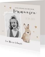 Einladungskarte Kommunion Foto und Kaninchen