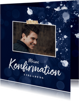 Einladungskarte Konfirmation Foto dunkelblau