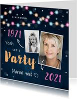 Einladungskarte Party bunte Lichter und zwei Fotos