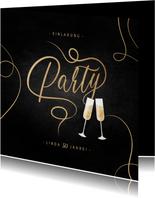 Einladungskarte 'Party' mit Sektgläsern